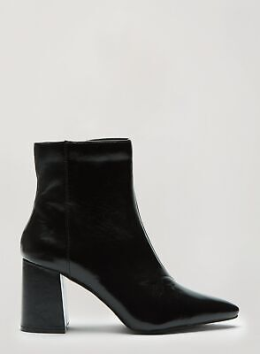 Miss Selfridge Womens Black Bayley Pointed Toe Ankle Boots High Block Heel Shoes • 14.99£
