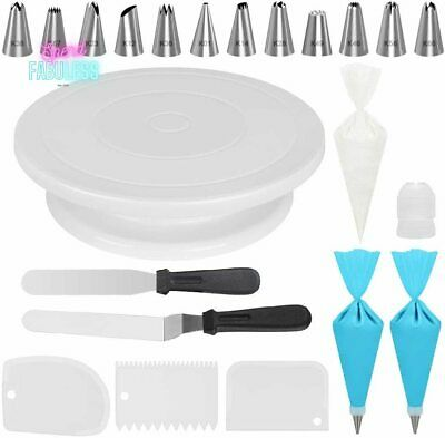 £19.47 • Buy Cake Decorating Kit Supplies With Revolving Turntable Easy Clean Baking Tool New