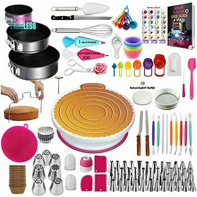 £39.05 • Buy Cake Decorating Supplies Kit With Turntable Stand Complete Baking Tool 360 Piece