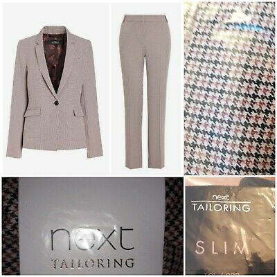 Next Size 16 Jacket & 18 Long Trouser Tailored Smart Checked Suit Set Bnwt £62 • 40£