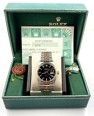 $ CDN7813.88 • Buy Rolex Datejust 16013 Black Dial 18K Yellow Gold Stainless Steel Box Papers