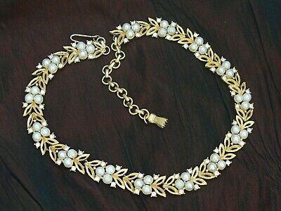 Vintage Pearl & Diamante Gold Tone Section Collar Necklace Tassel Shaped Finial • 19.90£