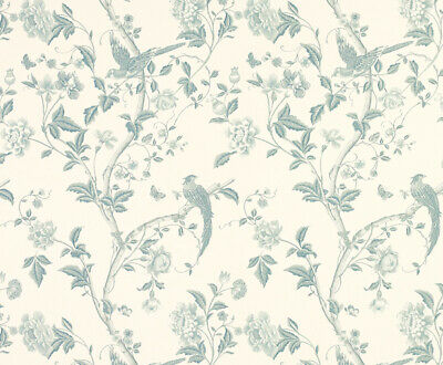 Laura Ashley Summer Palace Of-white/ Duck Egg Fabric **PER METRE** • 20£