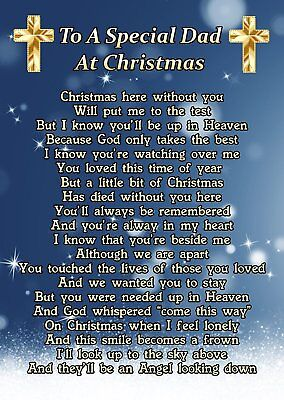 To A Special Dad At Christmas Memorial Graveside Poem Card & Ground Stake F244 • 2.99£