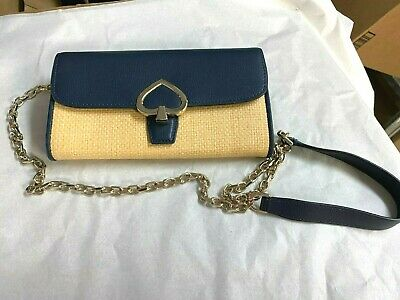 $ CDN86.62 • Buy Kate Spade Robyn Straw Wallet On A Chain Crossbody Bag Blue Gold Msrp $219 New