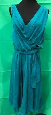 Womans Jaegar Turquoise Grecian Style Pleated Knee Length Dress BNWT UK16 #940 • 11.50£
