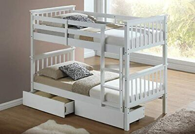 New White Finish Wooden 3'ft Single Bunk Bed Frame  + Under Bed  Storage Drawers • 339£