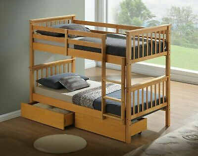 New Beech Finish Wooden 3'ft Single Bunk Bed Frame  + Under Bed  Storage Drawers • 339£