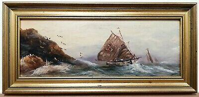 EARLY 20th CENTURY OIL ON BOARD SEASCAPE BOATS ROUGH SEAS ANTIQUE PAINTING • 16£