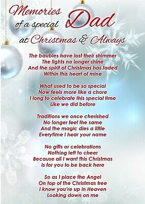 Special Dad At Christmas Memorial Graveside Poem Card & Ground Stake F448 • 2.99£