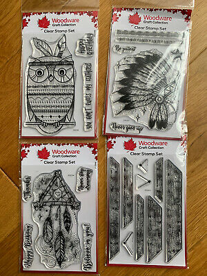 Woodware Clear Stamps Set - Happy Birthday Indian Dream - Brand New • 9.99£