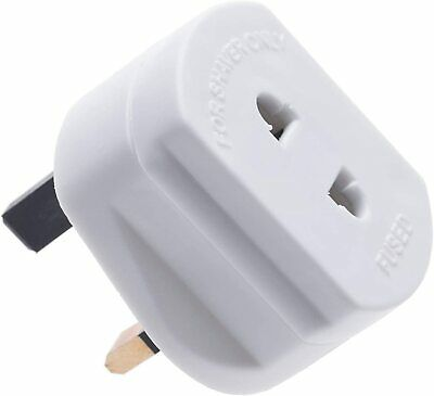 White UK 2 Pin To 3 Pin 1A Fuse Adaptor Plug For Shaver/Toothbrush • 3.10£