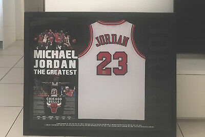 AU5995 • Buy Michael Jordan Hand Signed And Framed- White-chicago Jersey Memorabilia With Coa