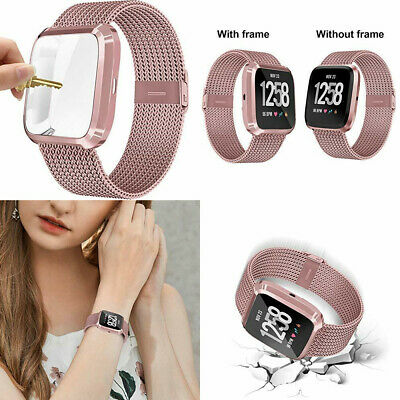 $ CDN36.51 • Buy Fitbit Versa 2 Band Magnetic Stainless Steel Mesh Replacement Bracelet Rose Gold