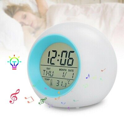 AU17.33 • Buy Changing Gift Kids Clock 7 Light Glowing Colors LED Bedroom Night Digital Alarm