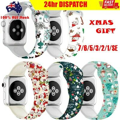 AU10.99 • Buy For Apple Watch Strap Band Series SE 6 5 4 3 Silicone IWatch Band Christmas Gift