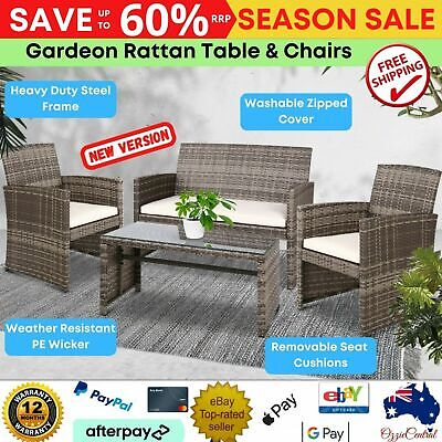 AU327.61 • Buy 4PCS Outdoor Furniture Table And Chair Set Garden Setting Patio PE Wicker Rattan