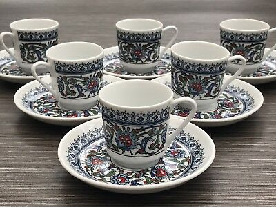 £45 • Buy Gural Porselen Porcelain Expresso Coffee Cup & Saucer TS10850 X 6 Hand Painted