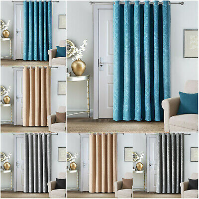Eyelet Blackout Door Curtain 66 X 84 Thick Thermal Insulated Ring Top Curtains • 19.99£