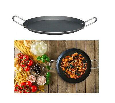 Iron Tawa Flat Tava Crepe Pancake Pan Griddle Dosa Roti Double Handle Heavy Duty • 15.99£