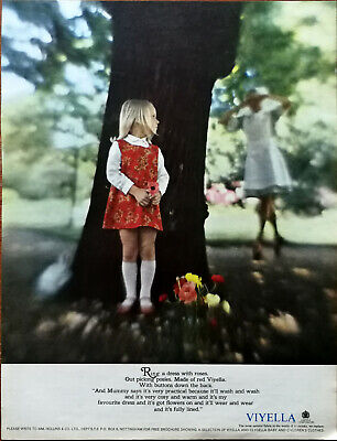Viyella Fabric Ring A Dress With Roses Made Of Red Viyella Vintage Advert 1966 • 5.99£