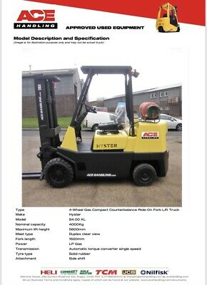 £7995 • Buy Hyster 4t Compact Gas Forklift Hire-£69.99 Buy-£7995 HP-£61.14 VAT Only Deposit
