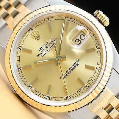 $ CDN6439.53 • Buy Rolex Mens Datejust 16233 Champagne Dial 18k Yellow Gold Stainless Steel Watch