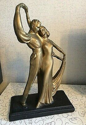 Stunning 1930's Art Deco Dancing Couple Chalkware Statue  13 1/2  Tall  • 40£