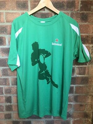 Green & White HEINEKEN Beer  Rugby Sport T Shirt - Size Small - 40 Inch Chest • 4.44£