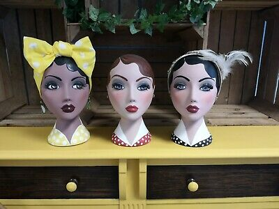 Painted Mannequin Heads 1950s Style Shop Decor Display Womens Ladies Vintage • 70£