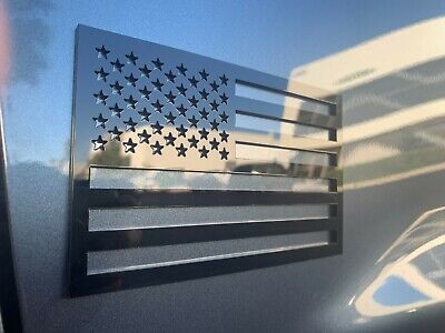$24.95 • Buy American Flag Emblem Decal Cut-Out Set Gloss Black Badge For Jeep Wrangler 2pc