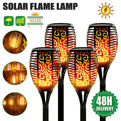 UK 4PCS Flame Solar Torch Light IP65 Waterproof Flickering Dancing Garden Lights • 9.49£