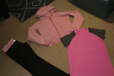 $ CDN75 • Buy  Lot Of Lululemon Groove Pants, Hoodie And Run Swiftly Tee Sz 10