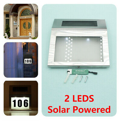 Door Number Light House Solar Illuminated Stainless Steel LED Plaque Wall • 17.43£
