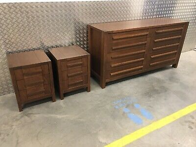 Marks & Spencer Sonoma Dark Oak Chest Of 10 Drawers & Pair Bedside Cabinets (T10 • 825£
