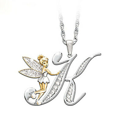 Stunning Tinkerbell Fairy Alphabet Letter  K   Pendant Necklace With Organza Bag • 2.99£