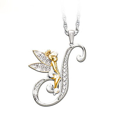Stunning Tinkerbell Fairy Alphabet Letter  S   Pendant Necklace With Organza Bag • 2.99£