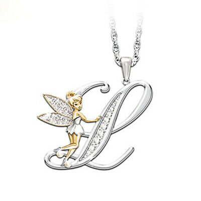 Stunning Tinkerbell Fairy Alphabet Letter  L   Pendant Necklace With Organza Bag • 2.99£