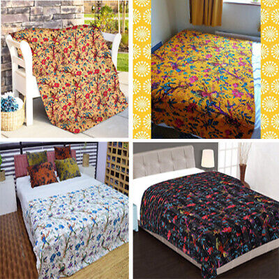 Birds Print Kantha Quilt Cotton Indian Bedspread Handmade Bedding Blanket Throw • 23.55£