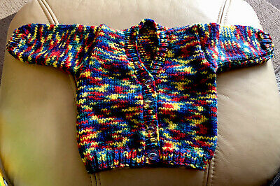 Hand Knitted Cardigan To Fit Baby Boy Or Girl Aged 0 - 3 Months • 5.25£