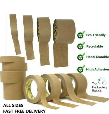 £3.74 • Buy Brown Kraft Paper Packaging Parcel Tape Eco Friendly Biodegradable Recyclable50m