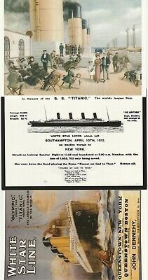 3 POSTCARDS Deck Of The Titanic In Memory Of The SS Titanic White Star Line • 2.49£
