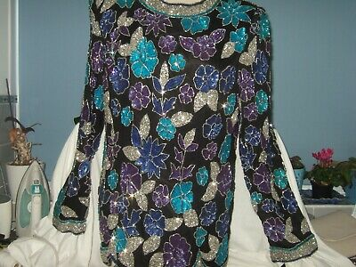 Collage By Simon Ellis  New Beaded Sleeved Top. Chiffon Lined. Large Size 14/16 • 45£