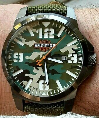 Beautiful Rare Bulova Harley Davidson Watch, Camouflage Dial, All Markers Lumed • 195£