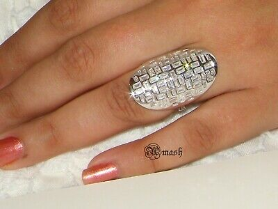 Hallmarked 925 Silver Baguette Ring,Large Bold Statement Ring ...Flash Sale... • 26£