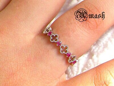 Infinity 925 Sterling Silver Gemstone Ring,Ruby Half Eternity,wedding Stacking. • 13.50£