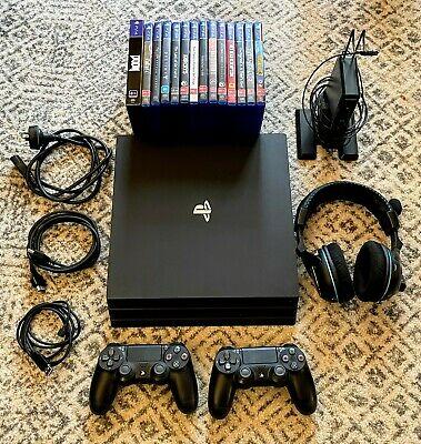 AU362 • Buy Sony PlayStation 4 (PS4) Pro 1TB Black Console + 14 Games + Turtle Beach Headset