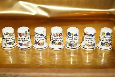 Vintage Thimbles Set Collection - Birchcroft - Days Of The Week • 9.90£