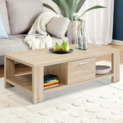 AU104.90 • Buy Artiss Coffee Table Wooden Shelf Storage Drawer Tables Thick Tabletop Furniture