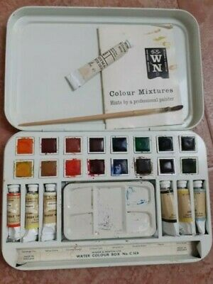 Vintage Winsor & Newton Watercolour Paint Box C16/6 In Original Box Hardly Used • 9.99£